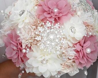 SALE!Brooch bouquet Fabric bouquet wedding bouquet Dusty Rose bouquet alternative bridal bouquet bridesmaid pink ivory Crystals bouquet