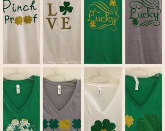 St. Patrick's day V neck womens t shirt-don't get pinched-go green-