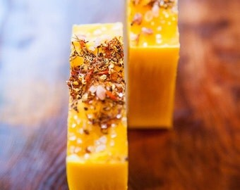 Sunset Honey and Beer Soap.  Made with Raw Honey.  Excellent Shampoo Bar for Hair.