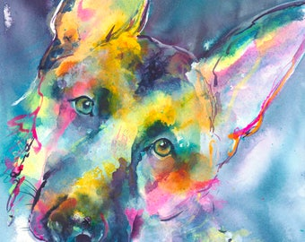 German Shepherd Dog Portrait/ German shepherd painting/ dog art/ dog watercolor/ dog painting/ colorful dog art/ dog lover gift/ gsd/