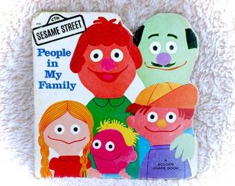 1977 Sesame Street People In My Family Children's Book Illustrated Golden Shape Muppets Jim Henson Paperback Original 70s 1970s Childrens