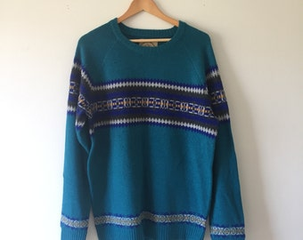 Retro Teal Knit Sweater