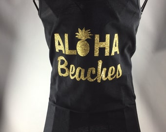 Black Racerback Tank Aloha Beaches Bachelorette party/Bridal Shower gift