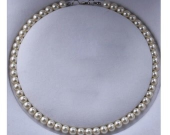 Ivory Pearl Necklace Bridal Pearl necklace Bridesmaids Pearl Necklace Wedding Necklace Wedding Accessories Round Pearl Necklace Jewelries
