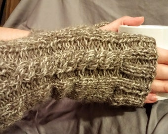 Slender Cable Knit Wool Beige Taupe Fingerless Gloves Arm Warmers Texting Gloves Ready to Ship Free Shipping