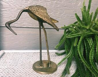 Vintage Brass Crane Bird Statue, Home Decor, Tchotchke