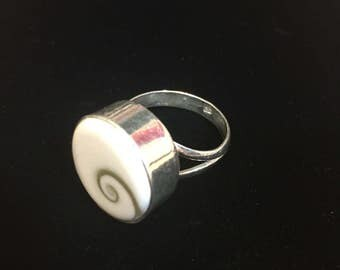 Sterling silver Shiva shall ring, size 8.75, weight 7 grams