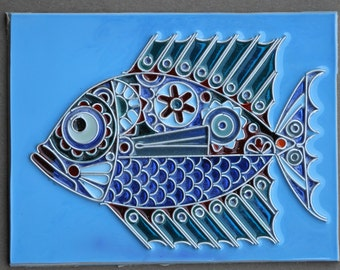 cloisonne fish rr 75 Masika 6x8 inches