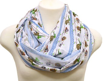 Sloth Scarf Infinity Scarf blue Sloths Scarf Animal Print Scarf Women Fashion Accessories Gifts for Her birthday gift anniversary present