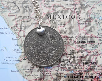 Mexican coin necklace/keychain - made of an original coin from Mexico