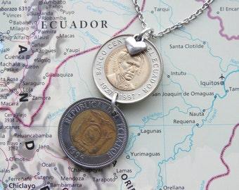 Ecuador double coin necklace/keychain - made of an original coin from Ecuador