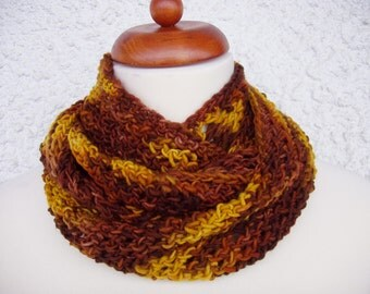 Hand painted infinity scarf, merino scarf, loop scarf, crochet scarf, crochet infinity,wool scarf, brown scarf, yellow scarf, 166cm, 66 inch