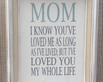 Mom quote,I know you've loved me my whole life,Framed saying.Mothers day gift,family sign,shabby chic,painted canvas sign,wall decor