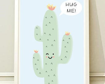 Nursery Wall Art Print, Kids Art Print, Animal Nursery Print, Modern Nursery Decor, Cacti poster, Kids room Cactus
