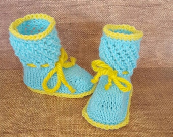 Blue and yellow baby booties, baby gift, pregnancy gift, pregnancy announcement, baby shower, baby booties, booties with ropes,stay on socks