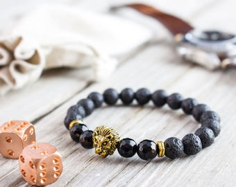 8mm - Black lava stone and faceted onyx beaded gold Lion head stretchy bracelet, made to order yoga bracelet, mens bracelet, womens bracelet