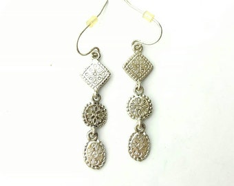 Vintage Three Section Dangle Patterned Metal Earrings