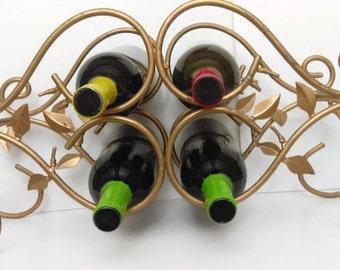 Vintage Gold Metal Wine Rack