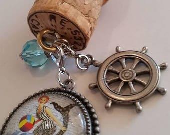 Beach Girl Boat Cork Key Chain