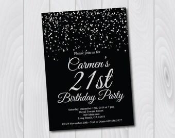 21st Birthday Invitation/Printable Silver & Black Birthday Invitation/e-card invitation/Template/Birthday Invitation/Surprise Birthday Party