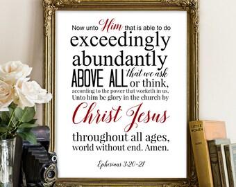 Ephesians 3:20-21, Bible Printable, To Him who is able to do exceedingly, Jesus Print, Scripture Printable, Scripture Print, Bible Printable