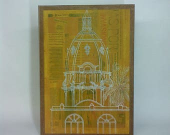 Illustration architecture cathedral, illustration in yellow, colonial Cathedral image, Ideal for your home