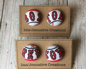 Red Sox Button Earrings
