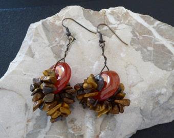 Earrings carnelian and tigereye