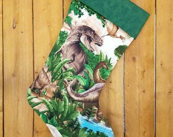 Dinosaurs Quilted Christmas Stocking