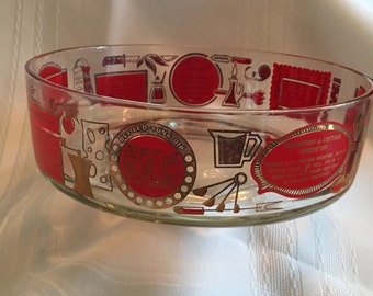 Vintage Dip Bowl / Glass Dip Bowl / Vintage Dip Bowl with Recipes  / Serving Bowl with Recipes