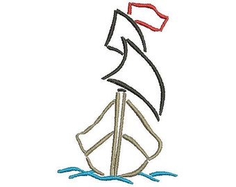 Sailboat Machine Embroidery Design
