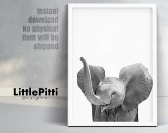 Baby elephant print, safari african animal, elephant trunk up, safari nursery, printable animal, modern nursery wall art, little elephant