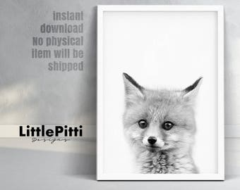 Fox cub print, woodlands nursery print, babies room fox art, cute baby animal, kids room wall art, downloadable prints, little fox printable