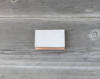 Leather Folded Card Case // Distressed White Crackle