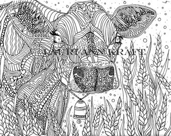 Cow coloring page Etsy