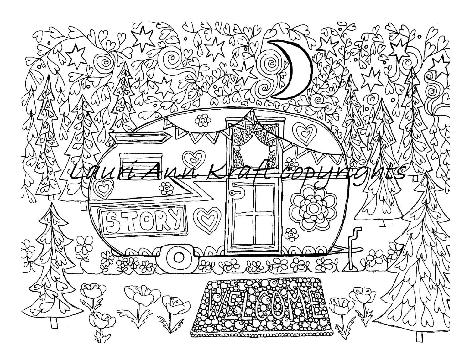free happy camper coloring pages   Camping Camper glamping Vintage Printable Adult Coloring Book