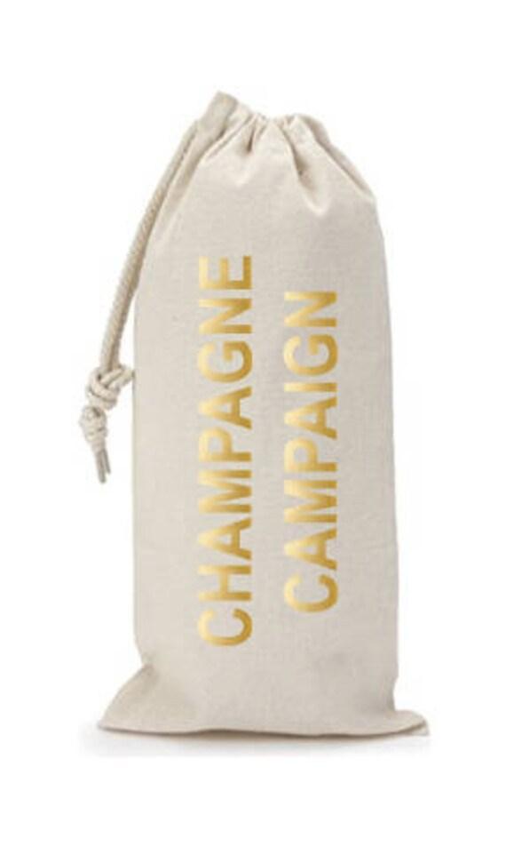 Champagne Campaign - Canvas Drawstring Wine Bag: Gold Foil Lettering