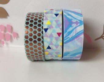 WS-065 | 24in Washi Sample - mint, copper foil, psychedelic, blue, purple,geometric,triangles,pale colors,yellow