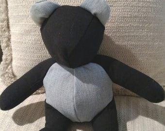 Child's Bear, Black Linen, Blue Jean ears and paws, Homemade Bear, Children's Bear