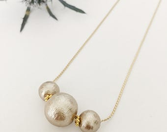 3 Gold Cotton Pearl necklace