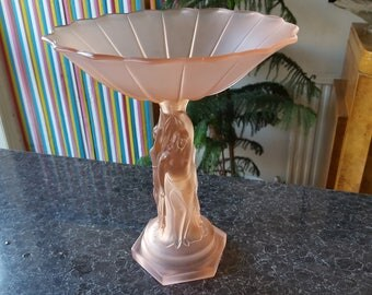 RESERVED NEW LISTING Beautiful Complete Art Deco Pink Frosted Glass Walther Three Graces Comport