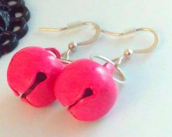 Handmade, bell earrings, PINK earrings, bell drop earrings, jingle bell, bells, handmade earrings, handmade bell earrings, drop earrings
