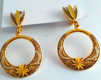 Vintage, Damascene drop earrings, drop earrings, vintage earrings, vintage Damascene earrings, Damascene clip on earrings, wedding earrings