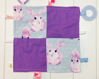 Baby Girl Crinkle Taggie. Sensory Toy. Purple and Pink Bunnies with Purple and White Polka Dots.