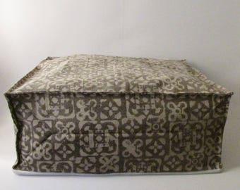 Pouf Ottoman Brown Hand Block Print,Stone-washed, Bean Bag, Cotton Cover.