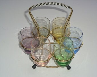 Set of 6 Colored Liqueur Glasses on Metal Stand