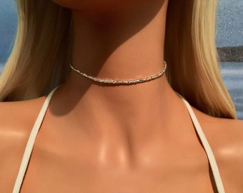 Silver Choker Necklace - Boho Choker Necklace - Bohemian Necklace - Beach Jewelry - Bridal Choker - Beach Choker