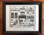 Terrace house print | blockprint | housewarming gift | modern home decor | iconic art print | Sydney wall art | decor for new home |