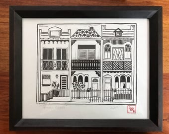 Terrace house print | hand carved | housewarming gift | modern home decor | iconic art print | Sydney wall art | decor for new home
