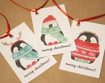 6 Penguin Christmas Gift Tags   Cute Christmas Gift Tags   Christmas Tags Set   Gift Tags Set   Holiday Gift Tags   Funny Christmas Tags